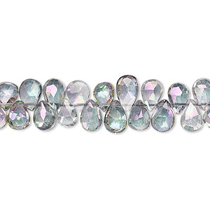 bead, mystic topaz (coated), 7x5mm hand-cut top-drilled faceted puffed teardrop with 0.4mm-1.4mm hole, b+ grade, mohs hardness 8. sold per 4-inch strand, approximately 35-40 beads.