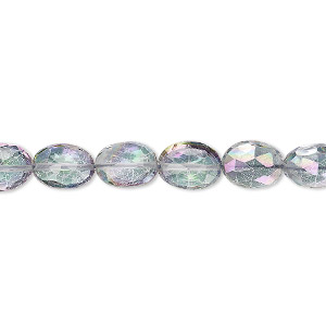 bead, mystic topaz (coated), 8x6mm hand-cut faceted puffed oval with 0.4mm-1.4mm hole, b+ grade, mohs hardness 8. sold per 8-inch strand, approximately 20-25 beads.