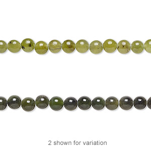 bead, nephrite jade (natural), light to medium, 4mm round, b grade, mohs hardness 6 to 6-1/2. sold per 16-inch strand.