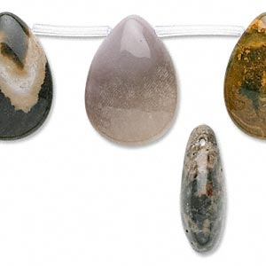 bead, ocean jasper (natural), 25x18mm puffed teardrop, b grade, mohs hardness 6-1/2 to 7. sold per 16-inch strand.