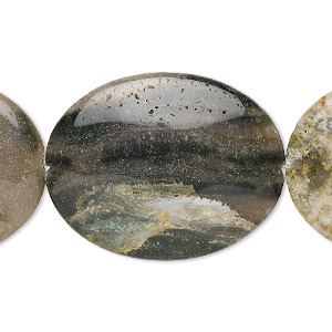 bead, ocean jasper (natural), 50x40mm flat oval, b grade, mohs hardness 6-1/2 to 7. sold per 16-inch strand.