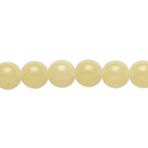 bead, olive new jade (natural), 8mm round, b grade, mohs hardness 2-1/2 to 6. sold per 16-inch strand.