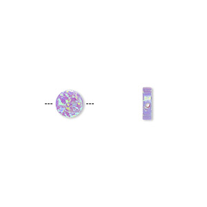 bead, opal (man-made), lavender, 6mm flat round with 0.6mm hole. sold individually.