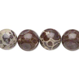 bead, orbicular jasper (natural), 12mm hand-cut round, b grade, mohs hardness 6-1/2 to 7. sold per 8-inch strand.