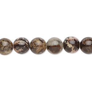 bead, outback jasper (natural), 8mm round with 0.5-1.5mm hole, b grade, mohs hardness 6-1/2 to 7. sold per 16-inch strand.