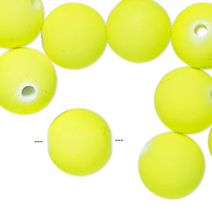 bead, painted acrylic, neon yellow, 14mm round with 2.5mm hole. sold per 100-gram pkg, approximately 65 beads.