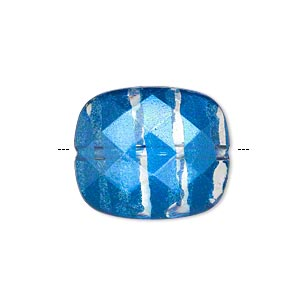 bead, painted acrylic, semitransparent clear and blue, 23x20mm faceted rounded rectangle. sold per pkg of 40.