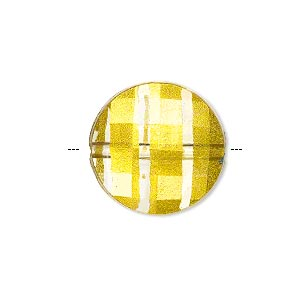 bead, painted acrylic, semitransparent clear and gold, 20mm faceted puffed flat round. sold per pkg of 40.