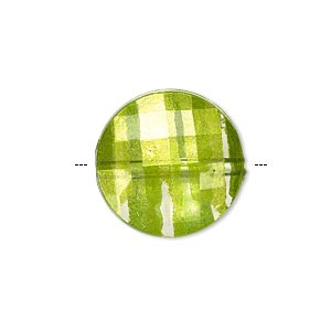 bead, painted acrylic, semitransparent clear and lime green, 20mm faceted puffed flat round. sold per pkg of 40.