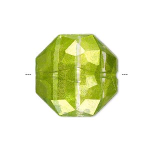 bead, painted acrylic, semitransparent clear and lime green, 24x11mm faceted octagon. sold per pkg of 20.