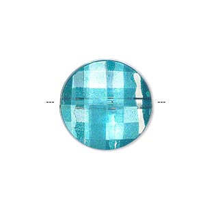 bead, painted acrylic, semitransparent clear and teal blue, 20mm faceted puffed flat round. sold per pkg of 40.