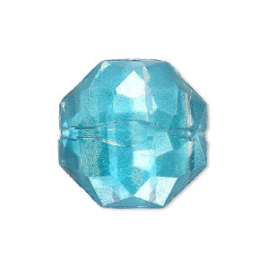 bead, painted acrylic, semitransparent clear and teal blue, 24x11mm faceted octagon. sold per pkg of 20.