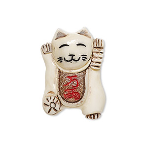 bead, painted bone (dyed / coated), antique multicolored, 27x19mm two-sided hand-carved maneki neko cat, mohs hardness 2-1/2. sold individually.