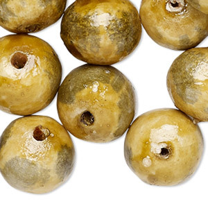 bead, painted vintage german fiber, dark yellow and grey, 16-17mm round. sold per pkg of 36.