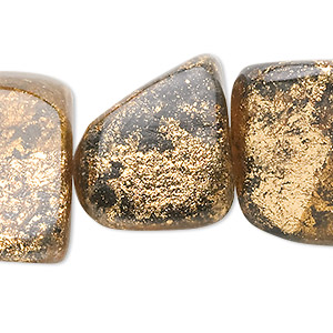 bead, painted wood (coated), black and gold, medium nugget. sold per pkg of 10.