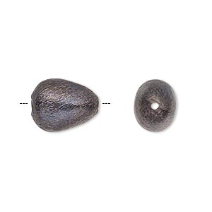bead, patinaed copper, 14x11mm brushed puffed egg with 0.9-1mm hole. sold per pkg of 6.