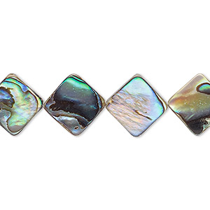 bead, paua shell (assembled), 10x10mm diamond, mohs hardness 3-1/2. sold per 16-inch strand.