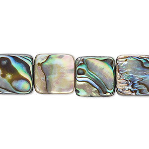 bead, paua shell (assembled), 12x12mm square. sold per 16-inch strand.
