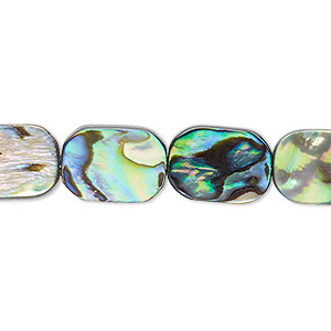 bead, paua shell (assembled), 14x10mm emerald-cut. sold per 16-inch strand.