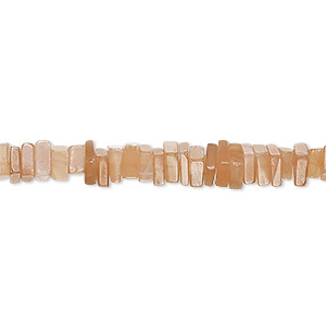 bead, peach moonstone (natural), 4x1mm-5x2mm hand-cut square rondelle, b grade, mohs hardness 6 to 6-1/2. sold per 8-inch strand, approximately 95-150 beads.