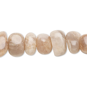 bead, peach moonstone (natural), medium hand-cut pebble, mohs hardness 6 to 6-1/2. sold per 8-inch strand, approximately 20 beads.