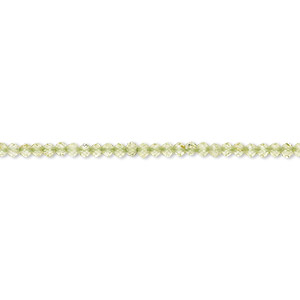 bead, peridot (natural), 2mm hand-cut faceted rondelle, b+ grade, mohs hardness 6-1/2 to 7. sold per 12-inch strand.