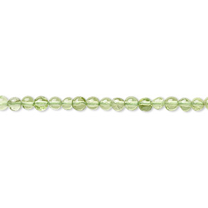 bead, peridot (natural), 3mm round, b grade, mohs hardness 6-1/2 to 7. sold per 16-inch strand.