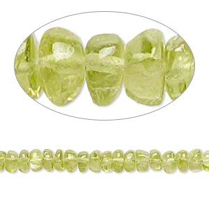 bead, peridot (natural), 3x2mm-6x4mm hand-cut rondelle, c+ grade, mohs hardness 6-1/2 to 7. sold per 14-inch strand.