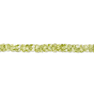bead, peridot (natural), 4x2mm-4x3mm hand-cut faceted heishi, b grade, mohs hardness 6-1/2 to 7. sold per 16-inch strand.