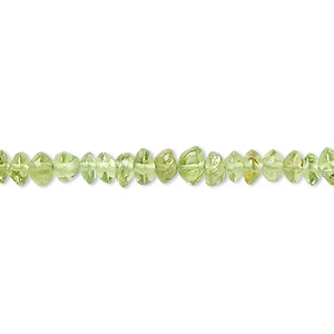 bead, peridot (natural), 4x2mm-6x3mm hand-cut rondelle, b- grade, mohs hardness 6-1/2 to 7. sold per 16-inch strand.
