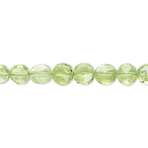 bead, peridot (natural), 5mm faceted flat round, b grade, mohs hardness 6-1/2 to 7. sold per 16-inch strand.