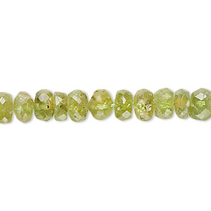 bead, peridot (natural), 5x2mm-7x5mm hand-cut faceted rondelle, c- grade, mohs hardness 6-1/2 to 7. sold per 14-inch strand.
