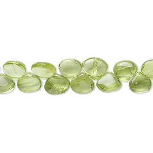 bead, peridot (natural), 5x4mm-6x4mm hand-cut top-drilled flat teardrop, b grade, mohs hardness 6-1/2 to 7. sold per 16-inch strand.