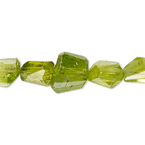 bead, peridot (natural), hand-cut mini to small faceted nugget, mohs hardness 6-1/2 to 7. sold per 8-inch strand, approximately 20 beads.