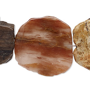 bead, petrified wood (natural), 20x15mm-30x26mm hand-cut flat freeform, b grade, mohs hardness 6-1/2 to 7 with 0.5-1.5mm hole. sold per 16-inch strand.