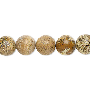 bead, picture jasper (natural), 10mm round, b grade, mohs hardness 6-1/2 to 7. sold per 16-inch strand.