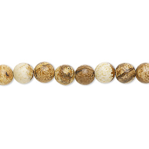 bead, picture jasper (natural), 6mm round, b grade, mohs hardness 6-1/2 to 7. sold per 16-inch strand.