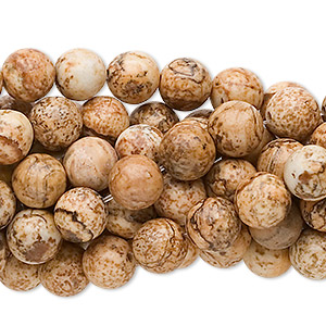 bead, picture jasper (natural), 8mm round, c grade, mohs hardness 6-1/2 to 7. sold per pkg of (10) 16-inch strands.