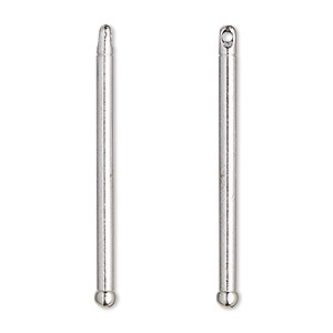 bead pin, tierracast, rhodium-plated pewter (tin-based alloy), 1-1/2 inches with 32x2mm tube and 3mm head. sold per pkg of 2.