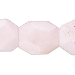bead, pink opal (natural), 20x15mm-30x26mm hand-cut faceted flat rectangle with 0.5-1.5mm hole, b grade, mohs hardness 5 to 6-1/2. sold per 8-inch strand, approximately 9 beads.