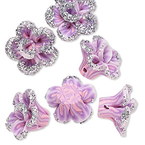 bead, polymer clay, lavender / dark purple / pink with silver-colored glitter, 16x15x11mm flower with 2-2.2mm hole. sold per pkg of 6.