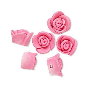 bead, polymer clay, mauve, 11x10x7mm rose. sold per pkg of 6.