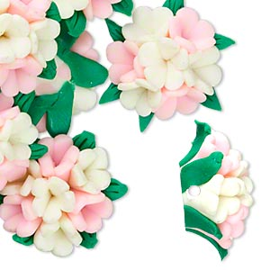 bead, polymer clay, pink / ivory / green, 21x20x12mm flower. sold per pkg of 12.