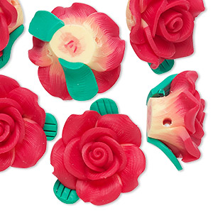bead, polymer clay, red / yellow / green, 22x20x11mm rose with 1.8-2mm hole. sold per pkg of 6.