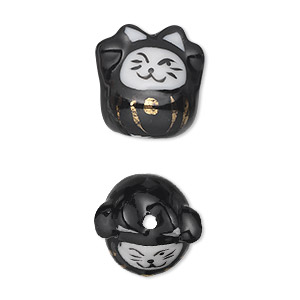 bead, porcelain, black / white / gold, 17x16mm 3d cat. sold per pkg of 2.