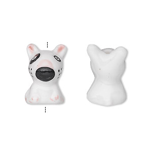 bead, porcelain, black / white / pink, 18x12mm 3d dog. sold per pkg of 2.