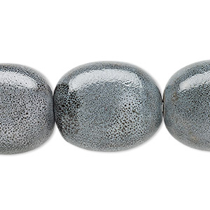 bead, porcelain, grey and dark grey, 26x24mm-29x25mm curved flat oval. sold per 8-inch strand.