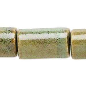 bead, porcelain, honey and pale green, 26x15mm-27x16mm round tube. sold per 8-inch strand.