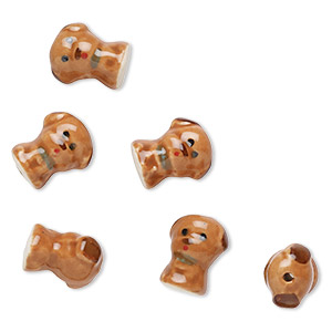 bead, porcelain, multicolored, 18x15mm dog. sold per pkg of 6.