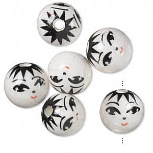 bead, porcelain, white / black / red, 14mm round with hand-painted smiling face, 3.5-4mm hole. sold per pkg of 6.